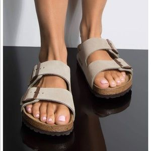 Birkenstock Arizona Grey Suede Sandals Brand New !